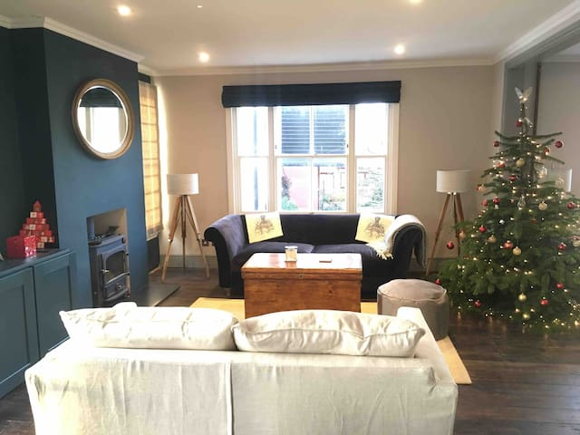 Living room with luxurious velvet sofas and warming wood burning stove. Seats 5.