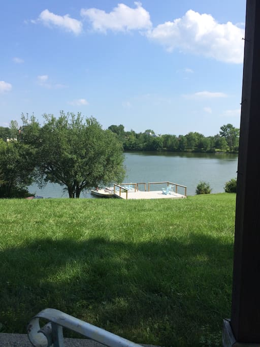 Backyard view from Trex deck. Also Trex deck and dock on lake