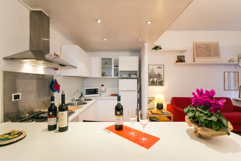 The kitchen is equipped with all you need to prepare your own meals (pots, dishes, cutlery, glasses....)