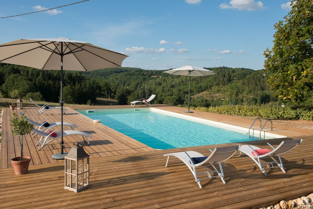 Brand new 10m x 5m private, infinity style swimming pool. Decked terrace, plenty of sunloungers & towels and stunning views over our 12 acres & the valley.