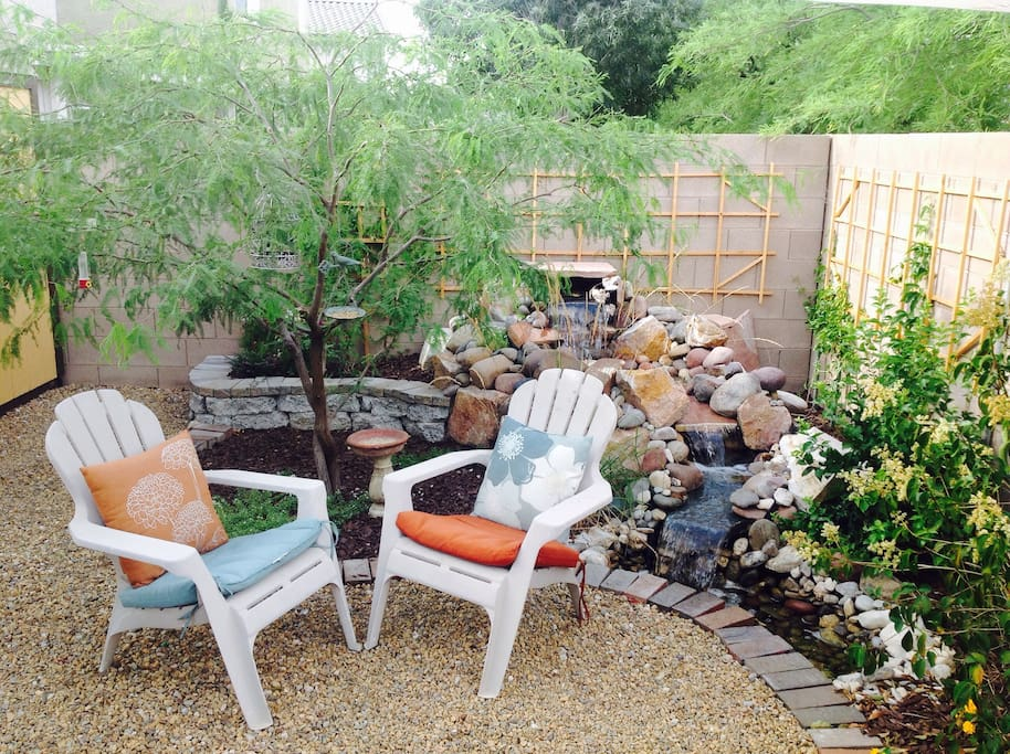 Bring a good book or a glass of wine and enjoy some time relaxing by the waterfall.