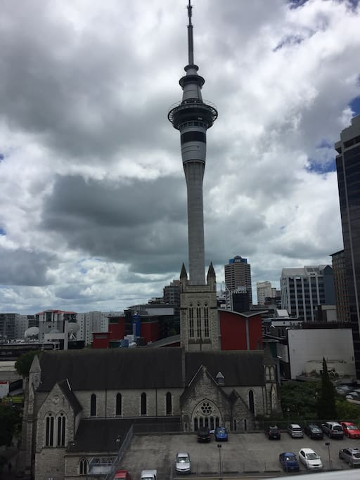 Sky tower- 150 metres walk. View from the kitchen window.