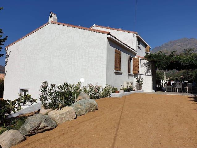 Entrée en terre battue, terrasse sous glycine vue sur le Monte Cinto et le Village de Calenzana, le début des vacances, non?!!!