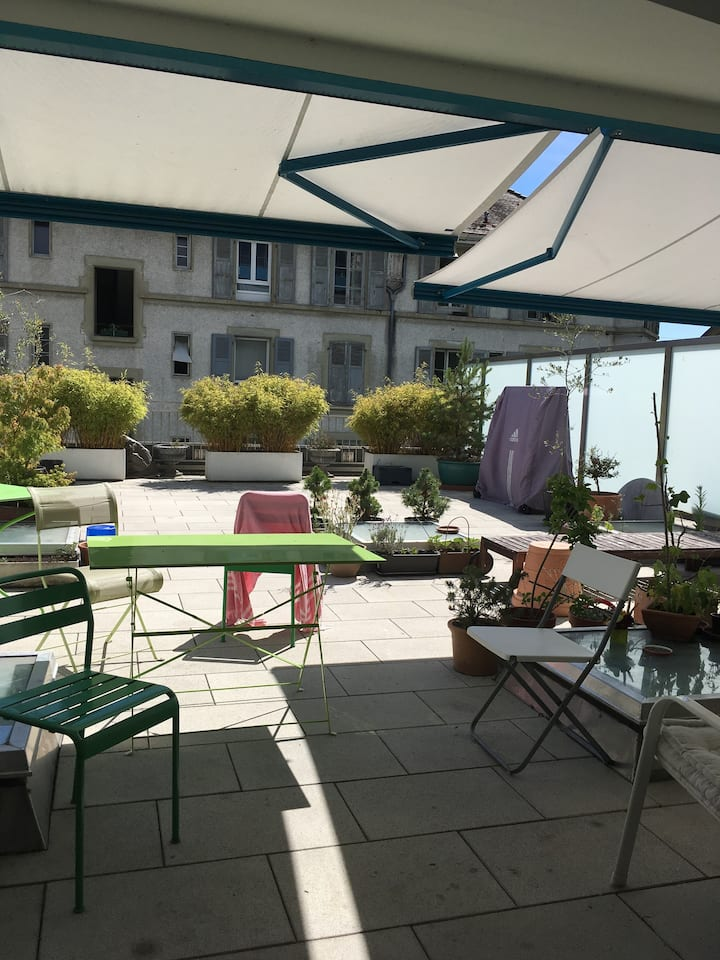 Exceptionnel: OUCHY, 80m2 et terrasse (4 pers)