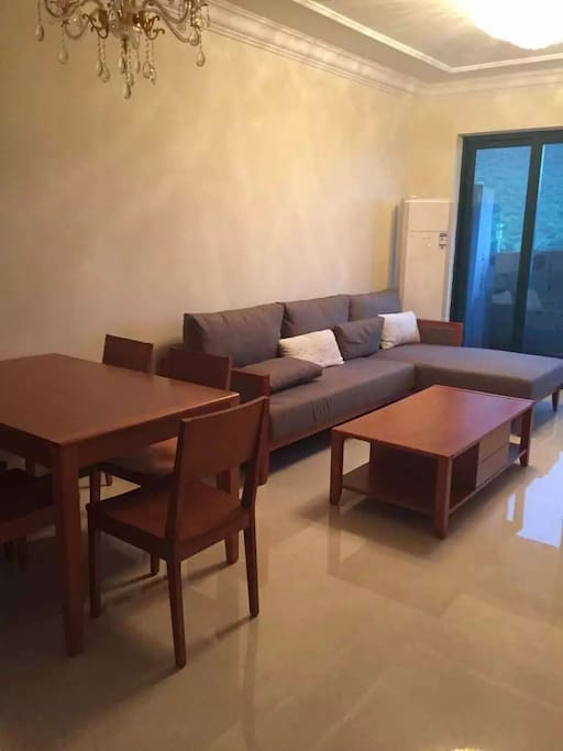 Sweet living room (one dining-table & six chairs; Comfortable sofa)