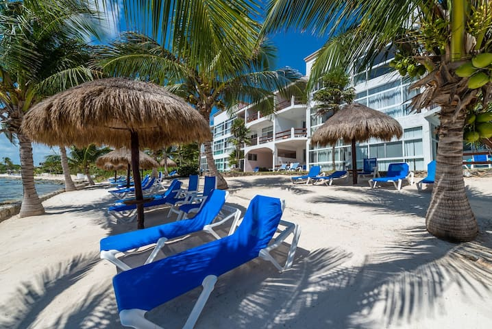 Exterior grounds of La Sirena Condominiums.  Shade palapas and beach loungers are for guest use.