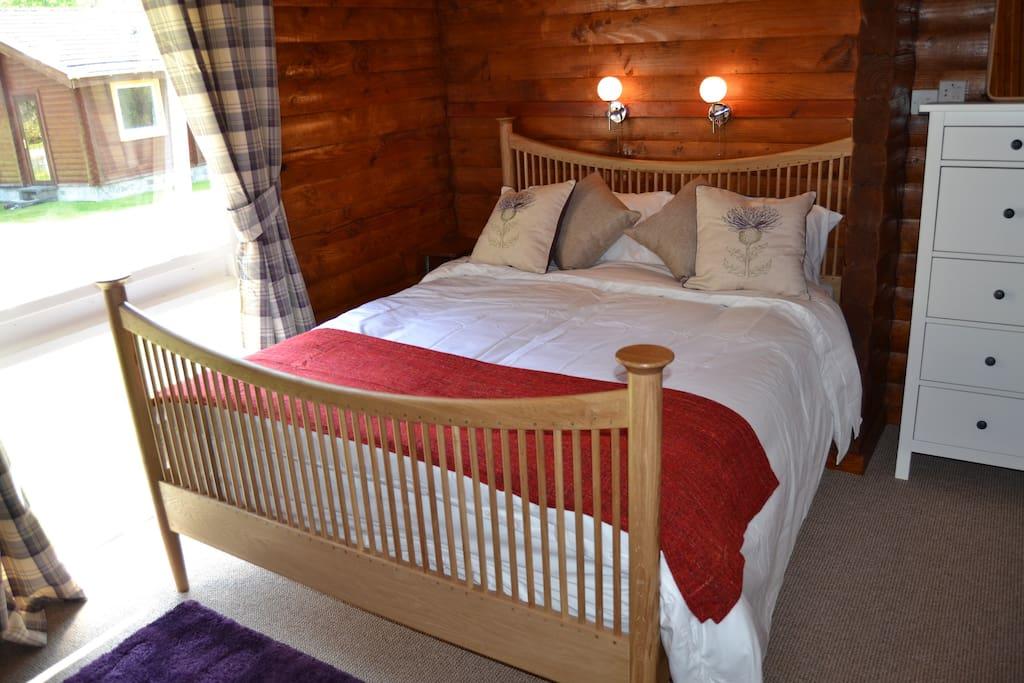 Oak King Size bed in master bedroom