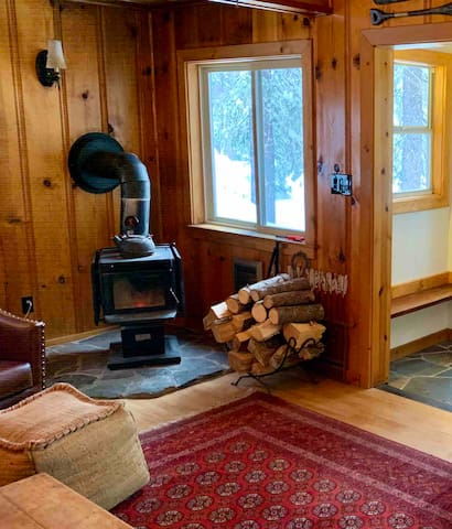 Cozy wood burning stove to heat up the cabin.