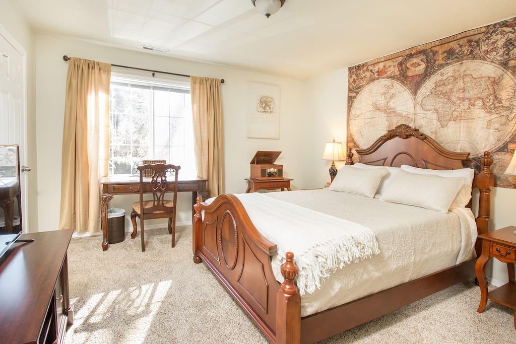 """Bedroom #1: Our """"Antique/Old World"""" Inspired Room. We hope you enjoy!"""