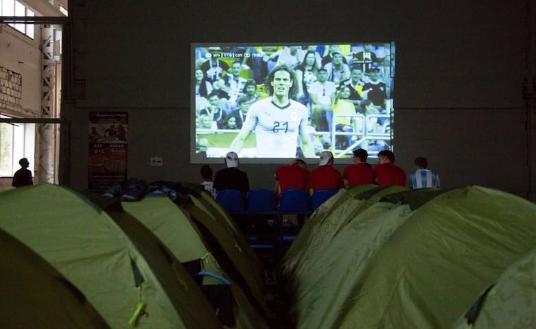 Camp at indoor Soccer pitch, for FIFA World Cup 2