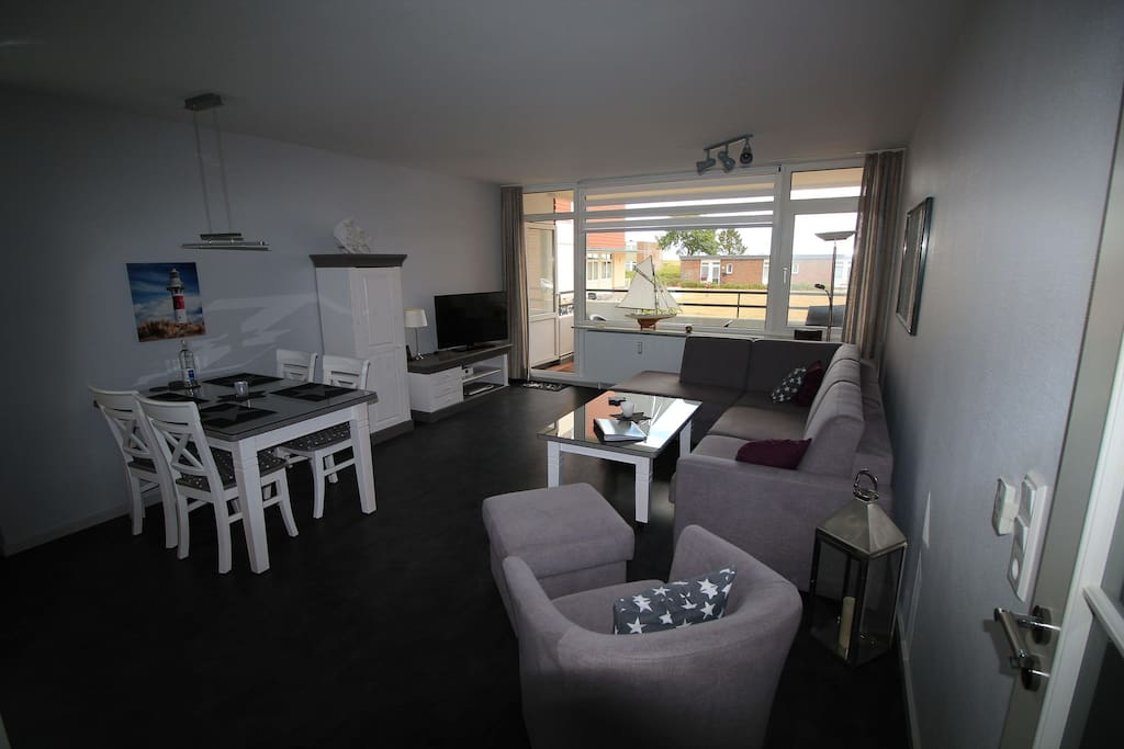 Wohnzimmer mit Blick Richtung Nordsee