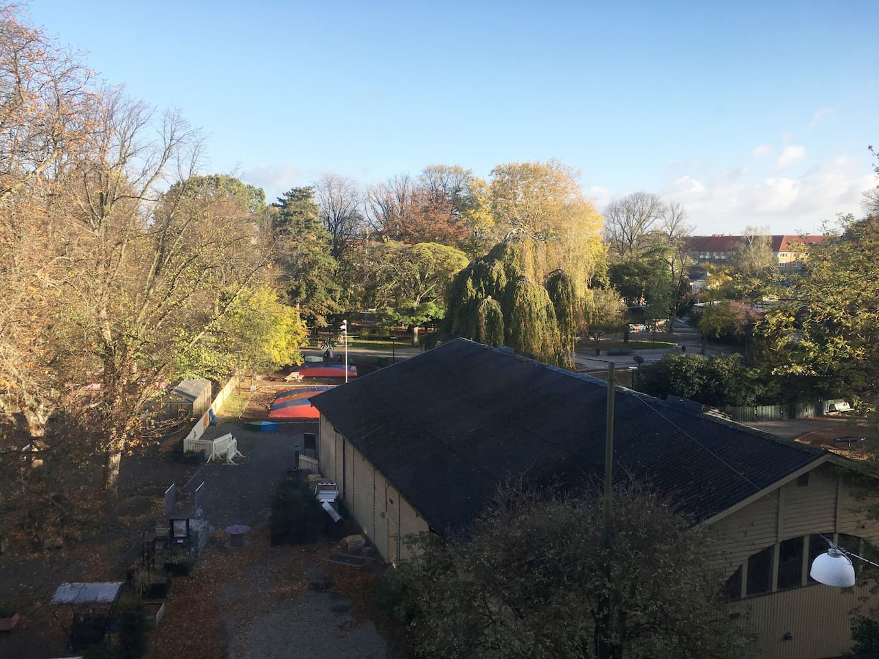 The view from the living room: Folkets Park, with music venues, play ground, nice bars and restaurants, green areas for picnics.