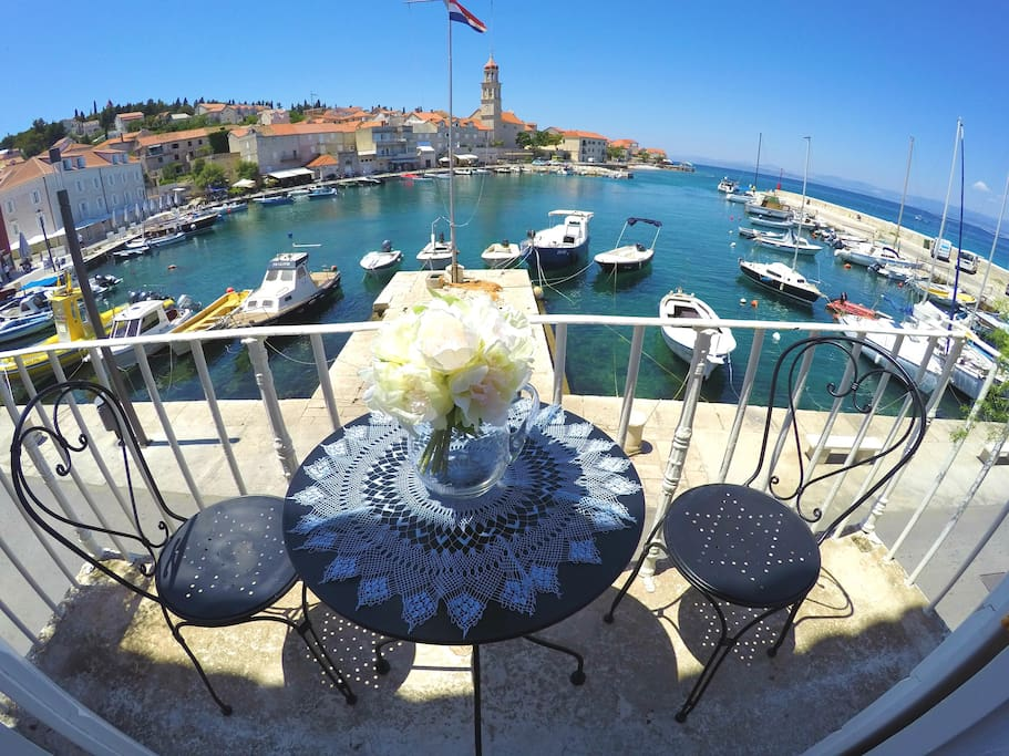 Balcony overlooking the harbor