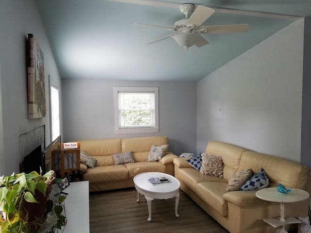 Comfortable living room with 2 leather couches & smart TV
