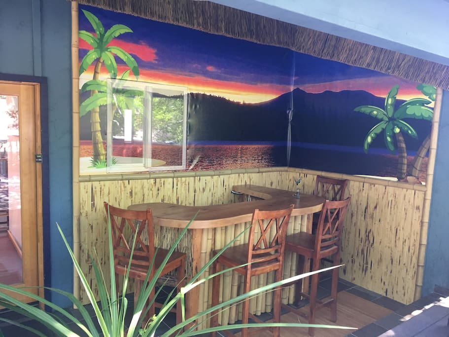 Your own private Tiki Bar on the deck    is now up and running