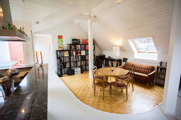 spacious rooftop room, near station - Thun - Leilighet