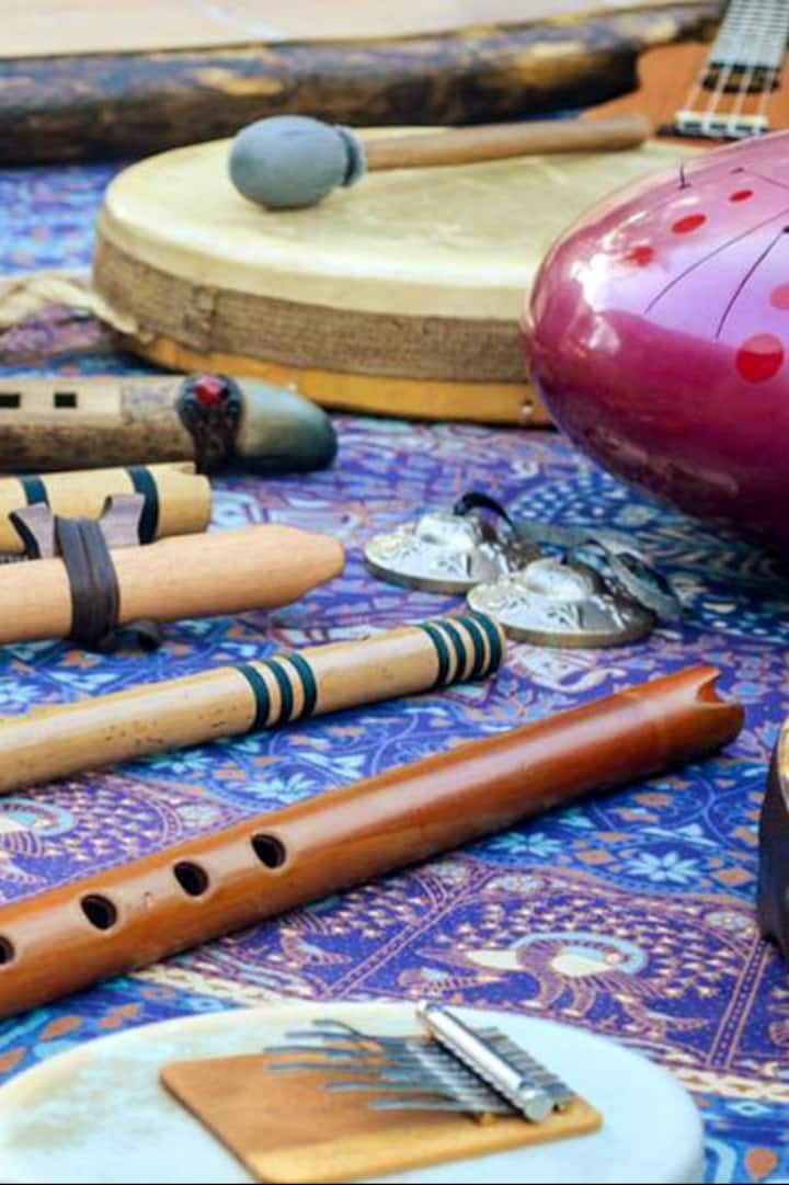 Native flutes, kalimba and shamanic drum