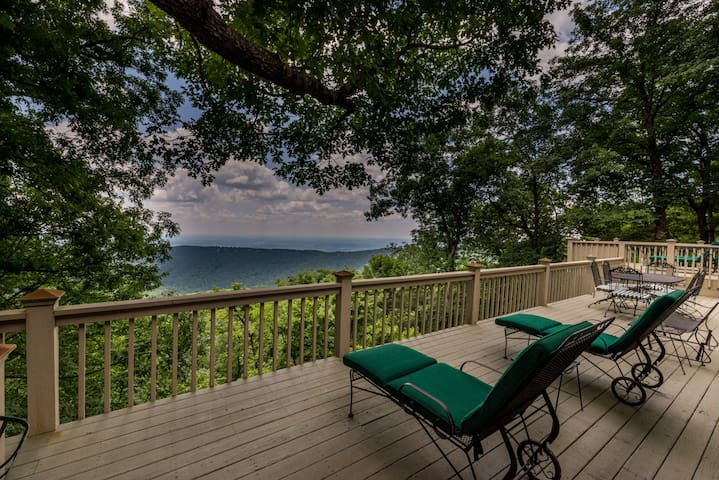 Main floor deck with sweeping views of the mountains and downtown Atlanta.