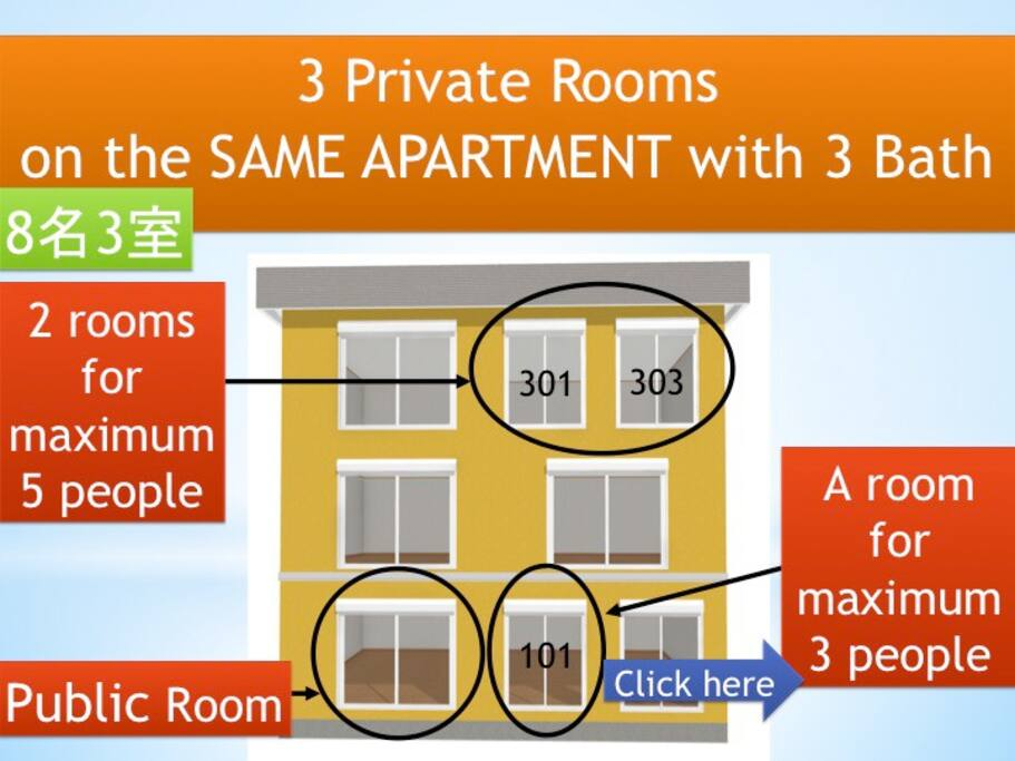 This is 3 private room in same apartment.