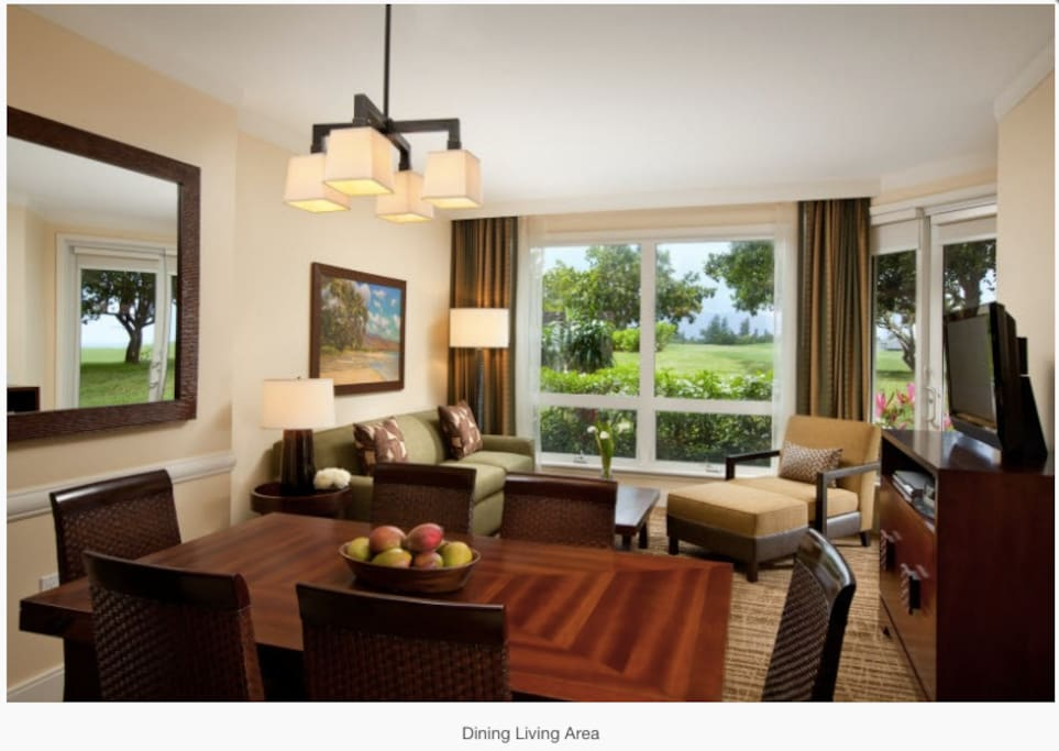 Dining/living room area on the 1-bedroom premium portion of the lockoff units