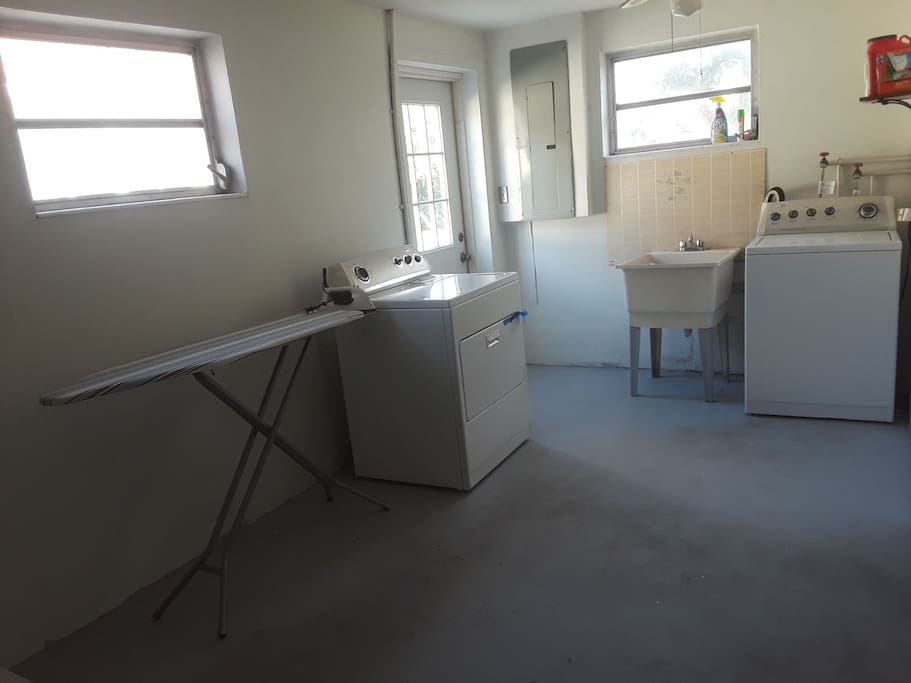 Shared fully equipped laundry room with full launder service optional at an extra cost.
