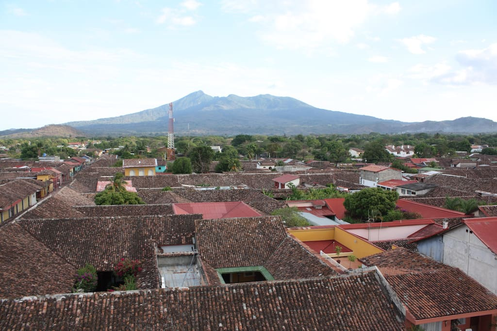 Town and volcano from terrace