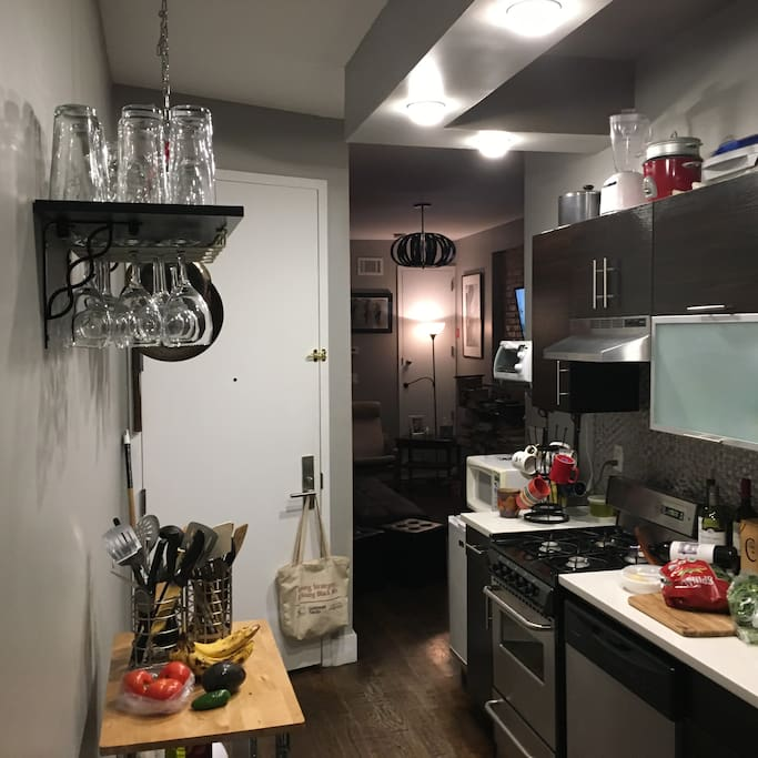 I love to cook and enjoy hosting so, my kitchen has all the essentials and some.  Guest may use the kitchen area as long as you put the space back as it was immediately after use.