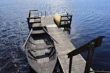 The bridge down by the sauna with the rowing boat, feel free to use it for a tour round the lake.