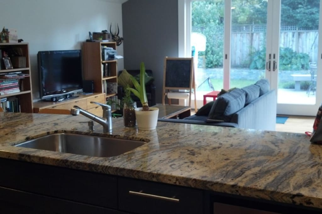 Kitchen island looks out over family room