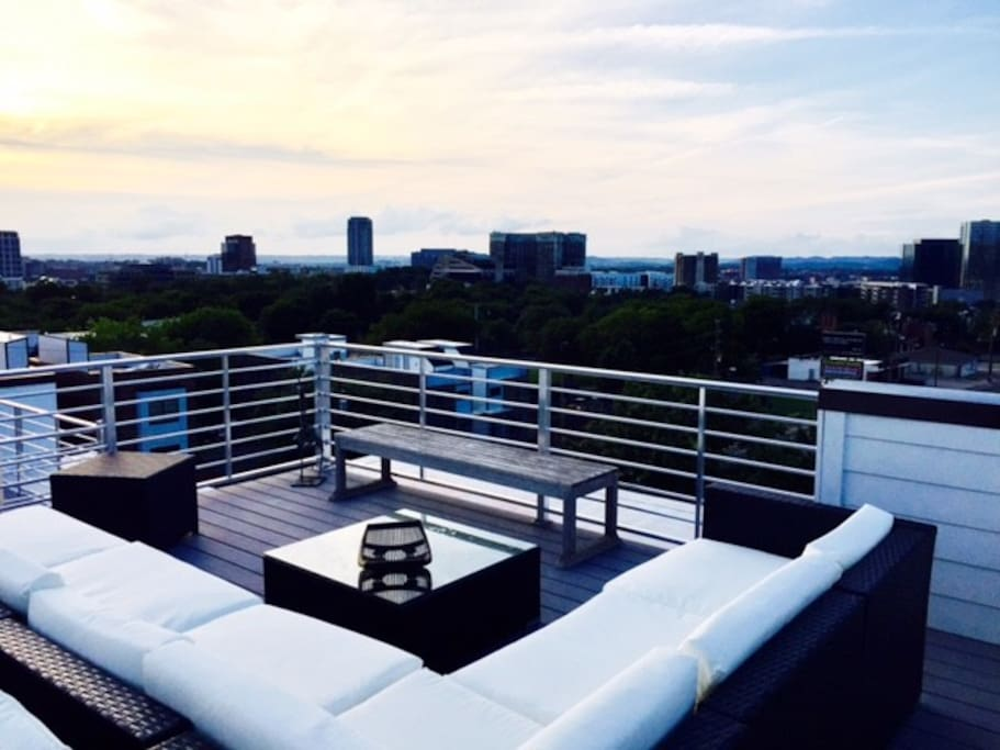 Enjoy a drink at sunset with panoramic views of Nashville