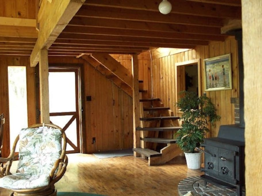 Great room; stairway to loft