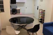 Transformable Table with Designer chairs. 可变型升降茶几/餐桌/圆台连設計師餐椅