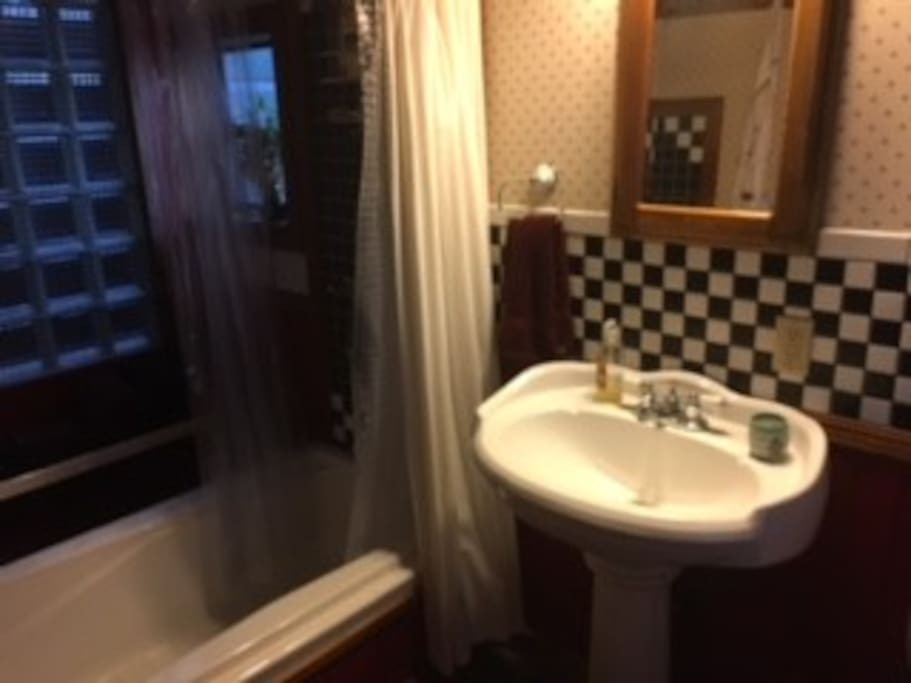 lodge-like bathroom