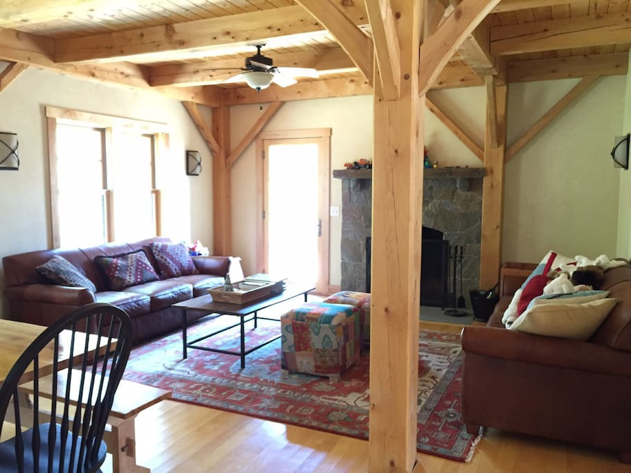Timber frame home at its best with local stone fireplace