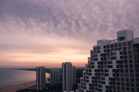 海碧台-27层天空退台 137平米两居室,双卫生间,双看海阳台,秦皇岛平米单价最贵的房源