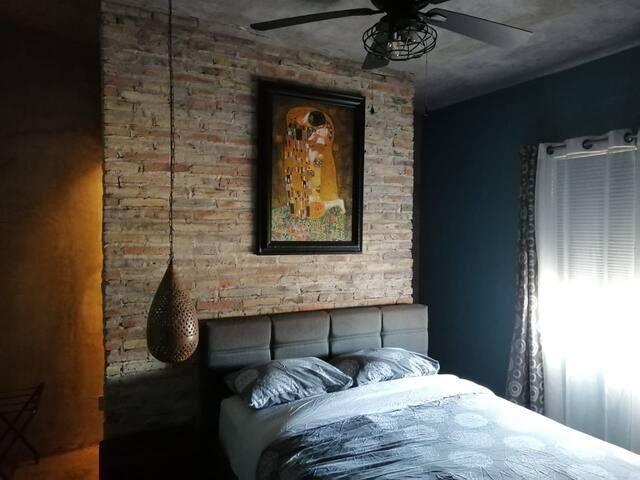 Closet behind bedroom