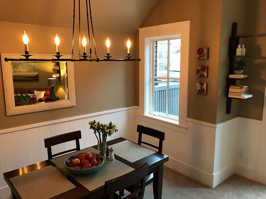 Sweet dining area with seating for 4. Table extends to seat 6.
