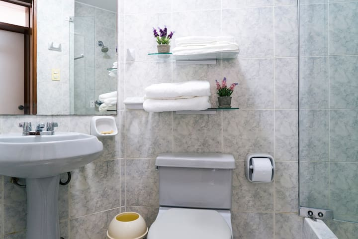 Baño con agua caliente y totalmente equipado (shampoo, acondicionador, jabon y toallas) // fully equiped bathroom with hot water (shampoo, conditioner, soap, towels)