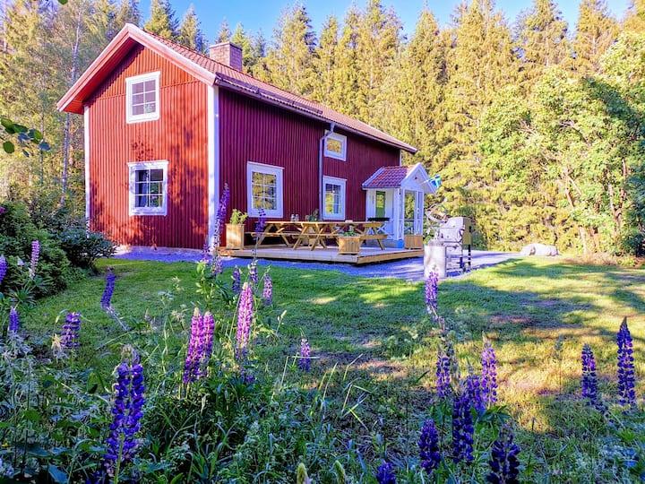 Herrfallet modern cottage in the woods near lake