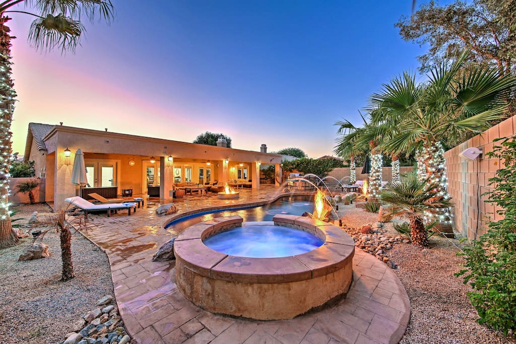 You'll love lounging by the property's private swimming pool and spa.