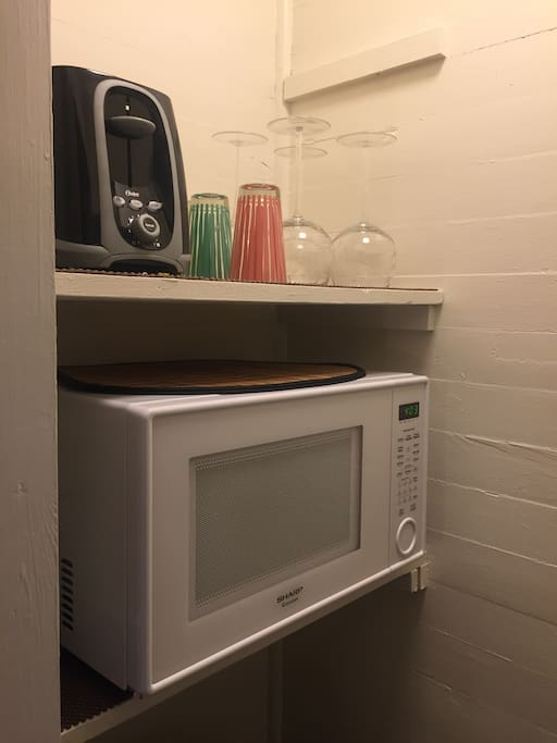 Closet with microwave and refrigerator