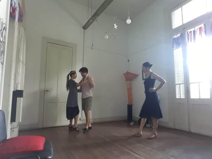 Teaching a private class to beginners.