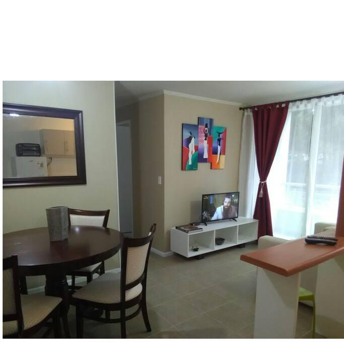 Mesa comedor para 4 personas, televisión con cable y cómodo sillón para el descanso
