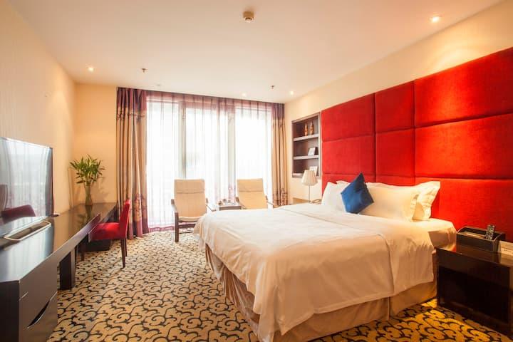 大连星海广场 会展中心 百年汇C座公寓 落地窗 舒适大床房A