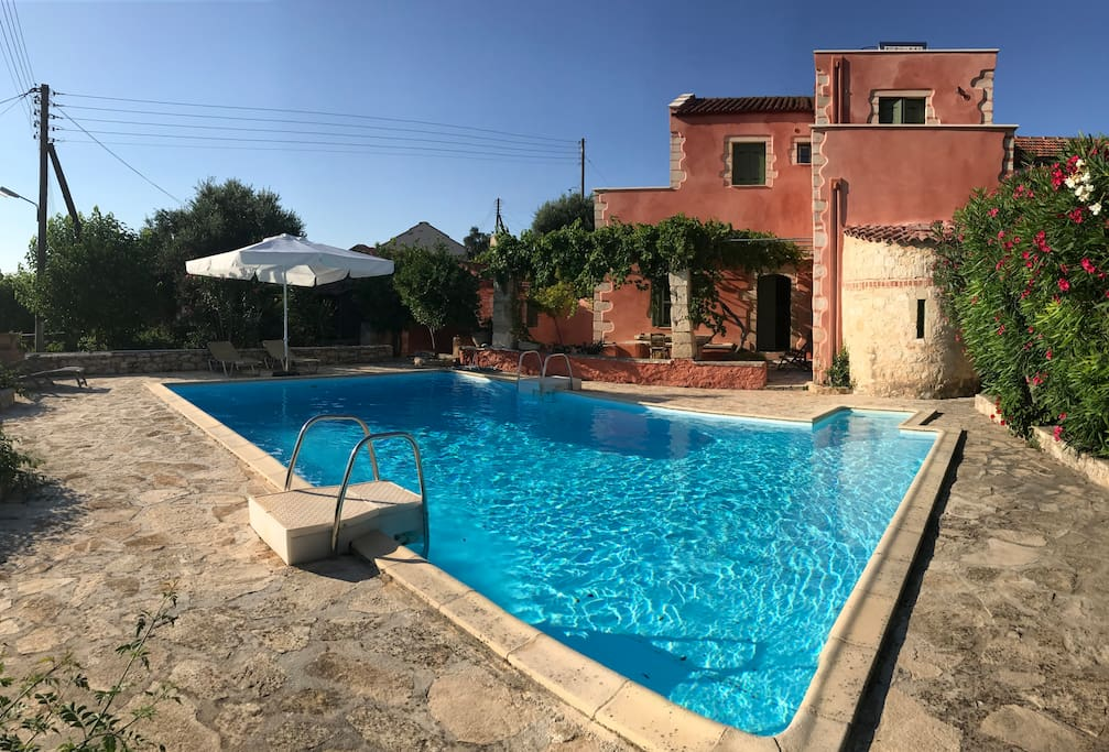 View on the villa with pool