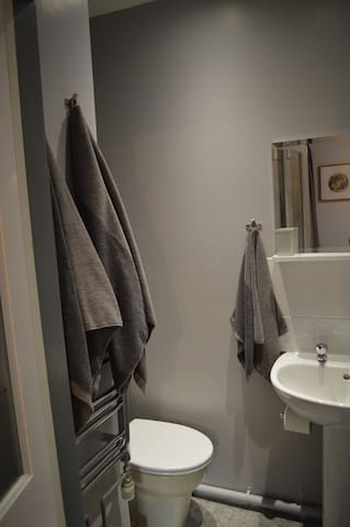 Private en-suite with WC , basin and shower
