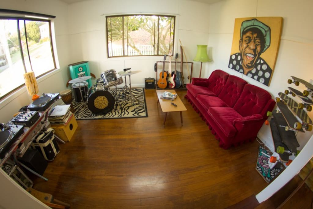 The jam room, play the drums, guitar or even some old records!