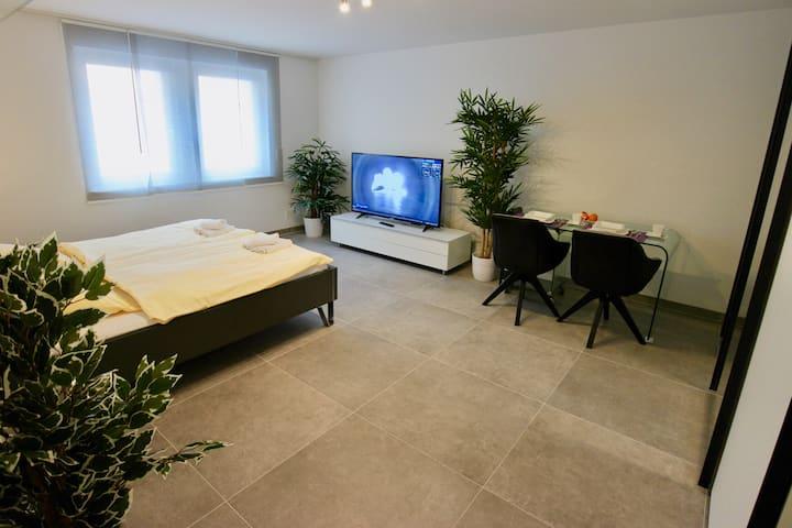 Zimmer mit Whirlpool, Terrasse&Klimaanlage