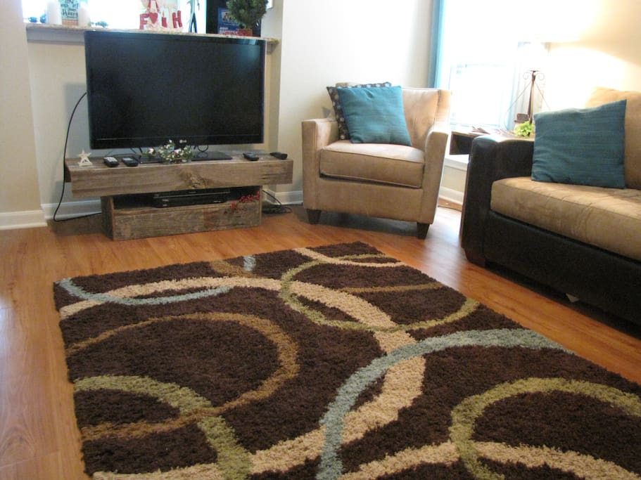 Living room with Dish Network