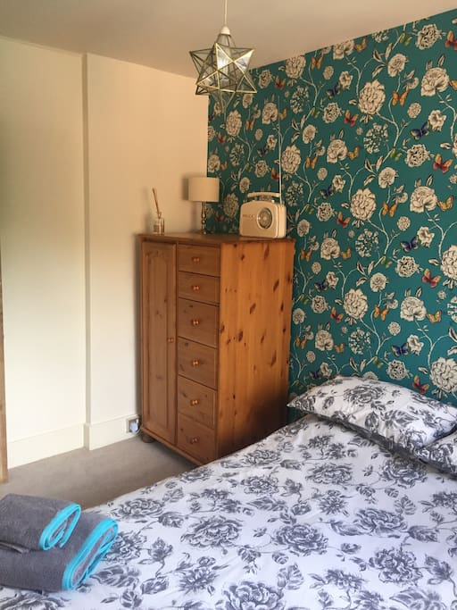 Double bedroom with small wardrobe